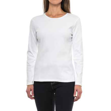 Pendleton Jewel Neck Cotton T-Shirt - Long Sleeve (For Women) in White - Closeouts