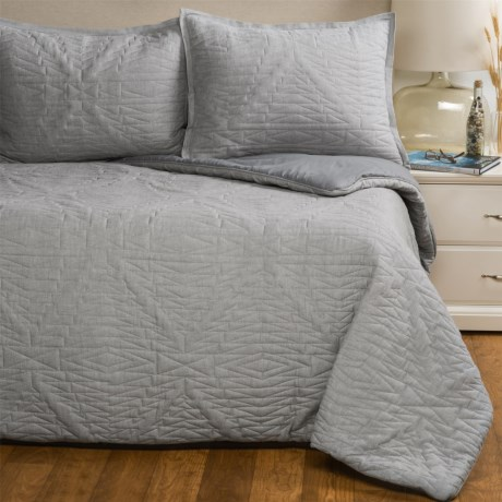 Pendleton Laslo Quilted Comforter Set - Twin in Grey