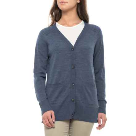 Pendleton Lightweight Seasonless Cardigan Sweater - Merino Wool (For Women) in Vintage Indigo Melange - Closeouts