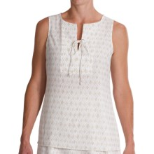 Pendleton Lila Crepe Shirt - Sleeveless (For Women) in White/Oxford Tan - Closeouts