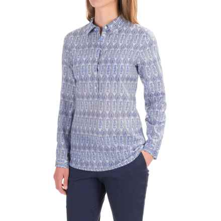 Pendleton Liliana Cotton-Silk Blouse - Long Sleeve (For Women) in Blue Prism Print - Closeouts