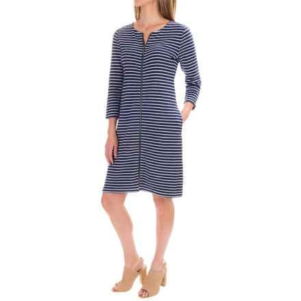 Pendleton Lola Stripe Dress - 3/4 Sleeve (For Women) in Tartan Navy/White - Closeouts