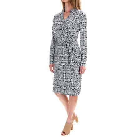 Pendleton Medallion Print Wrap Dress - Long Sleeve (For Women) in Midnight Navy - Closeouts