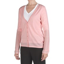 Pendleton Merino Wool Cardigan Sweater - Chiffon Trim (For Women) in Crystal Rose - Closeouts