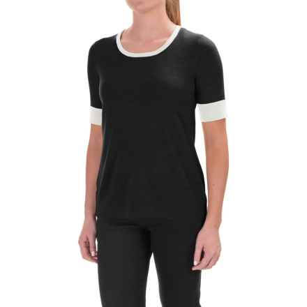 Pendleton Merino Wool Crew Neck Sweater - Contrasting Trim, Short Sleeve (For Women) in Black - Closeouts