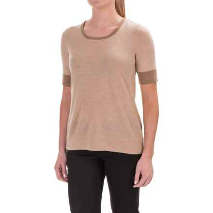 Pendleton Merino Wool Crew Neck Sweater - Contrasting Trim, Short Sleeve (For Women) in Brown - Closeouts