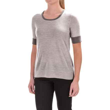 Pendleton Merino Wool Crew Neck Sweater - Contrasting Trim, Short Sleeve (For Women) in Grey - Closeouts