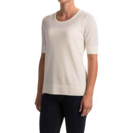 Pendleton Merino Wool Crew Neck Sweater - Contrasting Trim, Short Sleeve (For Women) in White - Closeouts