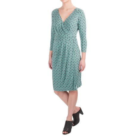 Pendleton Mimi Knit Dress - 3/4 Sleeve (For Women) in Sage/Black