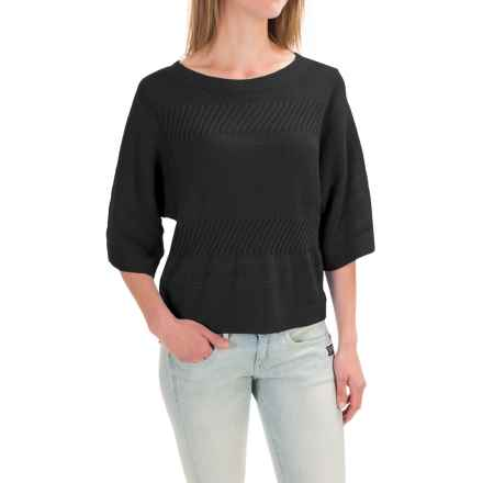 Pendleton Mixed Media Crop Sweater - Elbow Sleeve (For Women) in Black - Closeouts