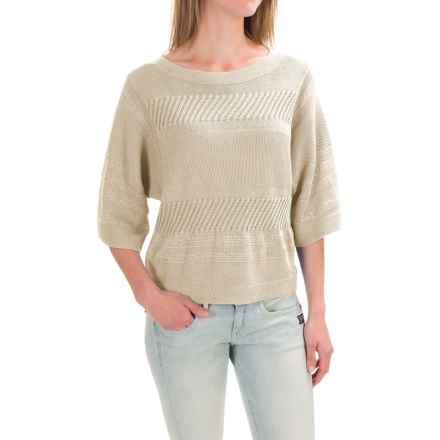 Pendleton Mixed Media Crop Sweater - Elbow Sleeve (For Women) in Ivory - Closeouts