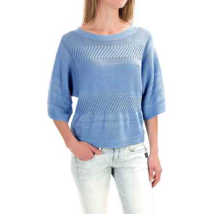 Pendleton Mixed Media Crop Sweater - Elbow Sleeve (For Women) in Sky Blue - Closeouts