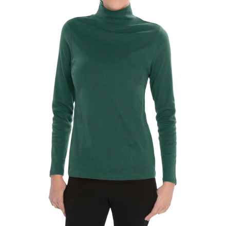 Pendleton Mock Neck Shirt - Cotton Rib, Long Sleeve (For Women) in Bistro Green - Closeouts