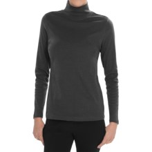 Pendleton Mock Neck Shirt - Cotton Rib, Long Sleeve (For Women) in Charcoal Heather - Closeouts