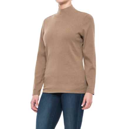 Pendleton Mock Neck Shirt - Cotton Rib, Long Sleeve (For Women) in Dachshund Heather - Closeouts