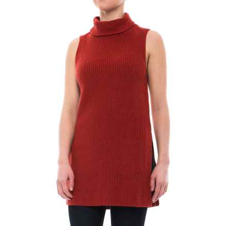 Pendleton Mock Tunic Sweater - Cotton-Cashmere, Sleeveless (For Women) in Tomato Red - Closeouts