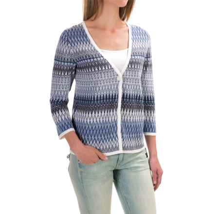 Pendleton Mya Cardigan Sweater - Linen-Cotton (For Women) in White Multi - Closeouts