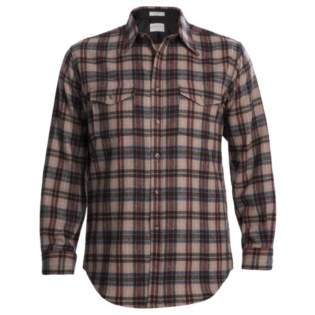 Pendleton Outdoor Shirt - Wool, Long Sleeve (For Men) in Tan/Maroon Plaid