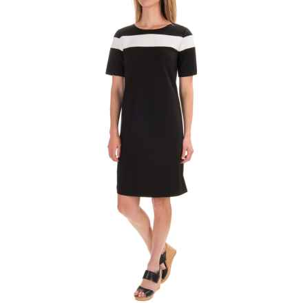 Pendleton Ponte Color-Block Dress - Short Sleeve (For Women) in Black Ponte - Closeouts