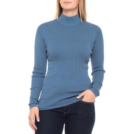 Pendleton Rib Mock Neck Shirt - Long Sleeve (For Women) in Coronet Blue