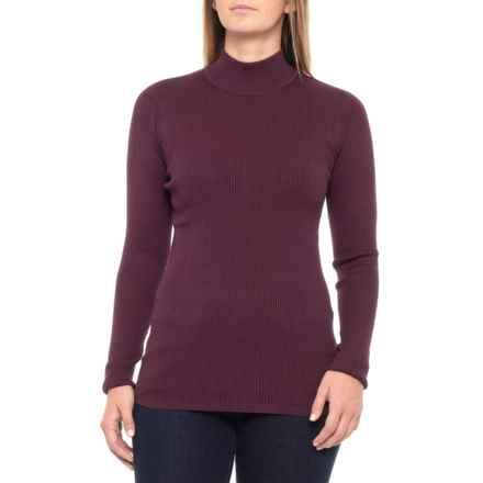 Pendleton Rib Mock Neck Shirt - Long Sleeve (For Women) in Dark Plum - Closeouts
