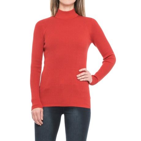 Pendleton Rib Mock Neck Shirt - Long Sleeve (For Women) in Tomato Red