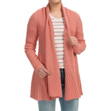 Pendleton Ribbed Cardigan Sweater - Honeycomb Drape Front (For Women) in Rust - Closeouts