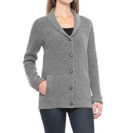Pendleton Ribbed Lambswool Cardigan Sweater (For Women) in Grey Heather - Closeouts