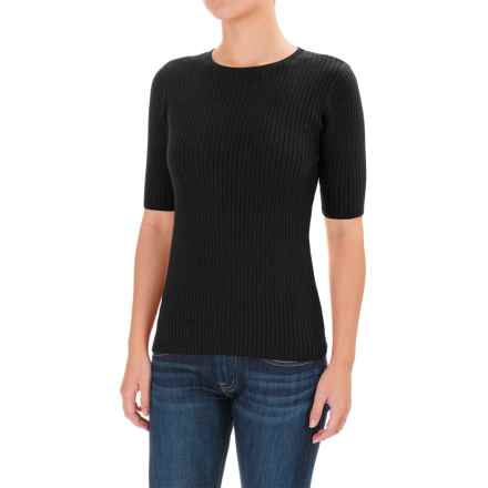 Pendleton Ribbed Sweater - Crew Neck, Elbow Sleeve (For Women) in Black - Closeouts