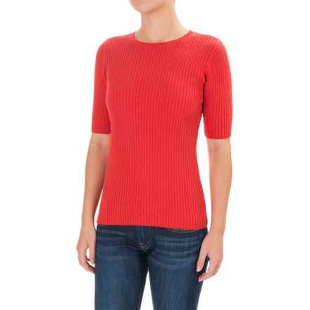 Pendleton Ribbed Sweater - Crew Neck, Elbow Sleeve (For Women) in True Red - Closeouts