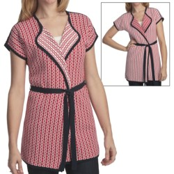 Pendleton Round Trip Cardigan Sweater - Reversible, Short Sleeve (For Plus Size Women) in Fiesta Red/White