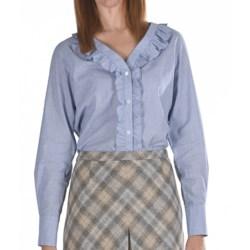 Pendleton Ruffle-Trim Cotton Shirt - Long Sleeve (For Women) in Chambray