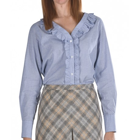 Pendleton Ruffle-Trim Cotton Shirt - Long Sleeve (For Women) in Chambray