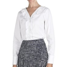 Pendleton Ruffle-Trim Cotton Shirt - Long Sleeve (For Women) in White - Closeouts