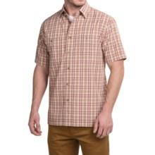 Pendleton Santiam Plaid Shirt - Short Sleeve (For Men) in Tan/Maroon Plaid - Closeouts