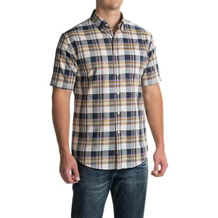 Pendleton Seaside Cotton Shirt - Short Sleeve (For Men) in Cream / Navy / Red Plaid - Closeouts
