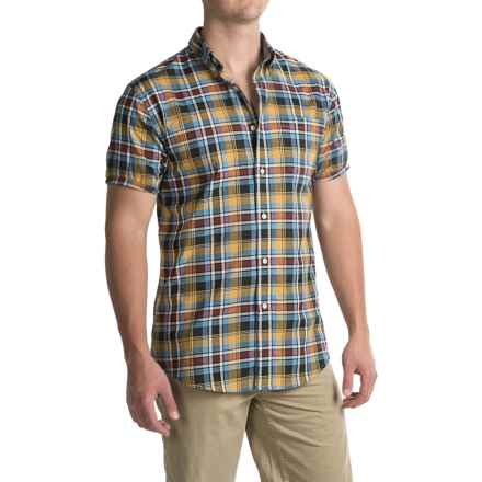 Pendleton Seaside Cotton Shirt - Short Sleeve (For Men) in Dark Grey / Light Blue Plaid - Closeouts
