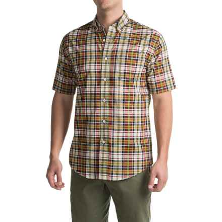 Pendleton Seaside Cotton Shirt - Short Sleeve (For Men) in Tan / Navy / Gold Plaid - Closeouts