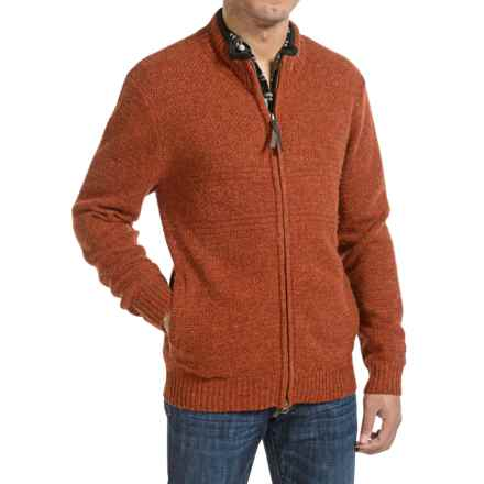 Pendleton Shetland Zip-Front Cardigan Sweater (For Men) in Pumpkin Heather - Closeouts