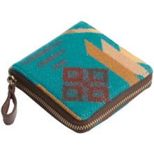 Pendleton Small Zip Wallet - Fabric and Leather (For Women) in Turquoise - Closeouts