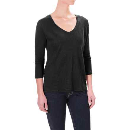 Pendleton Solid Linen Knit Shirt - V-Neck, 3/4 Sleeve (For Women) in Black - Closeouts