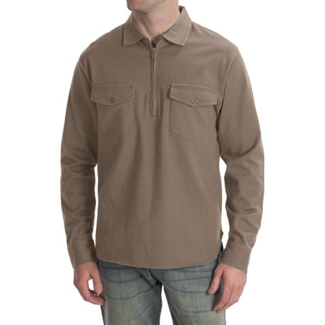 Pendleton Spinnaker Shirt - Cotton, Zip Neck, Long Sleeve (For Men) in Stone