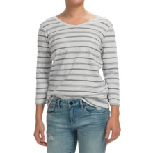 Pendleton Striped V-Neck Shirt - 3/4 Sleeve (For Women) in Grey/Blue - Closeouts
