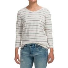 Pendleton Striped V-Neck Shirt - 3/4 Sleeve (For Women) in Oatmeal/Green - Closeouts