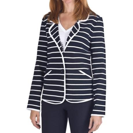 Pendleton Stripes Ahoy Blazer - Double-Knit Cotton (For Women) in Midnight Navy/White
