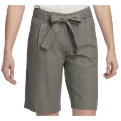 Pendleton Summer Day Linen-Rich Shorts - Pleats (For Women) in Cafe Grey