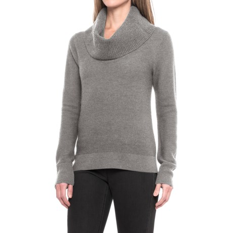 Pendleton Textured Drape Neck Sweater - Merino Wool (For Women) in Soft Grey Heather