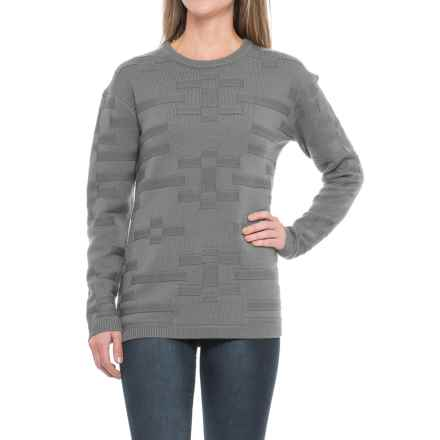 Pendleton Tonal Textured Sweater - Merino Wool, Crew Neck (For Women) in Grey Heather - Closeouts
