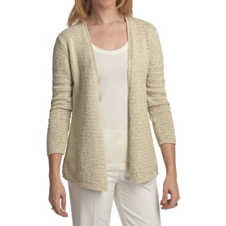Pendleton Triangle Twist Cardigan Sweater (For Plus Size Women) in Celery/Natural