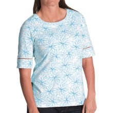 Pendleton Trimmed Print Cotton T-Shirt - Elbow Sleeve (For Women) in White/Carolina Blue - Closeouts